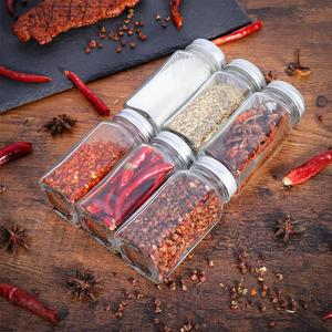 Image 5 - 12PCS Spice Jars Square Glass Containers Seasoning Bottle Kitchen and Outdoor Camping Condiment Containers with Cover Lid