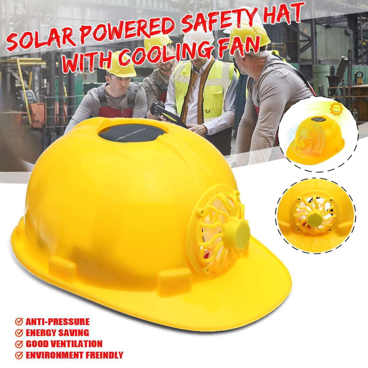 Yellow Solar Power Fan Helmet Outdoor Working Safety Hard Hat Construction Workplace ABS material Protective Cap PoweredYellow Solar Power Fan Helmet Outdoor Working Safety Hard Hat Construction Workplace ABS material Protective Cap Powered