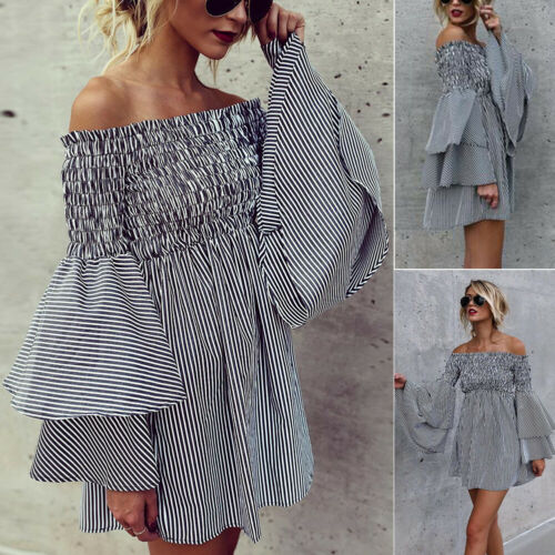 Summer Dresses Hot Women Summer Slash Neck Off Shoulder Long Flare Sleeve Black and White Striped Ruffled Mini Dress in Dresses from Women 39 s Clothing