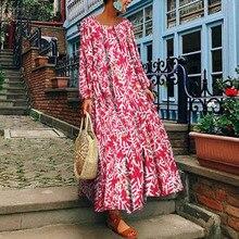 ZANZEA Women Long Maxi Dress 2019 Summer Ladies Floral Printed Vestidos Vintage Sundress Beach Party Robe Femme Plus Size