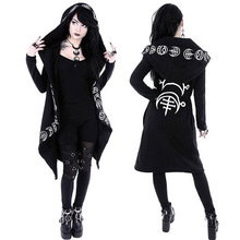 Gothic Jacket Girls Casual Witch Long Sleeve Hooded Hoodie Zipper Coat Outwear