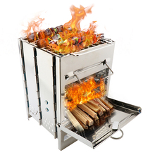 Outdoor Wood Burning Stove Mini BBQ Grill Folding Stainless Steel Camping for Backpacking Hiking Cooking Picnic