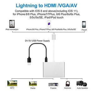 Image 4 - Adaptador de iluminación a HDMI VGA AV Adaptador 4 en 1 Plug and Play Digtal AV para iPhone X / 8 / 8Plus/7/7Plus/6/6s/6s Plus/5/5s iPad