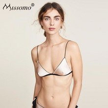 Missomo Backless Lace Bras For Women Wireless Sexy VS BH Simple Stitching Contrast Color Line Satin Back Bow Tie Bra