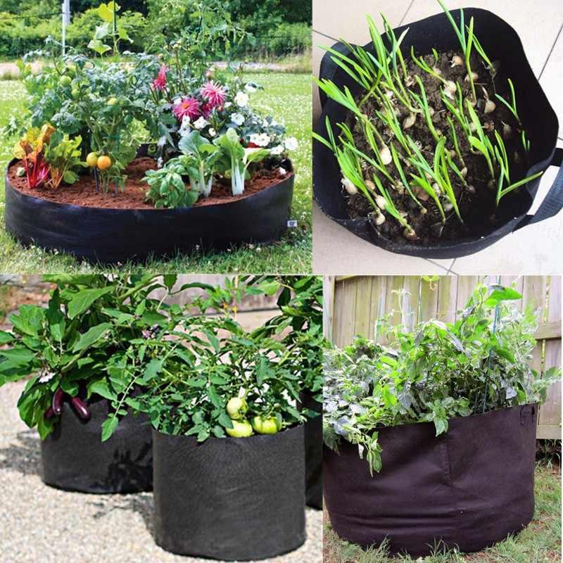 Czarna tkanina doniczki do roślin rosną torby z uchwytami torba do sadzenia sadzonka doniczka rozmiar 1, 2, 3, 5, 7, 10, 15, 20 ,25, 30 galonów