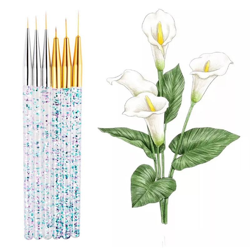 3pcs/set Glitter Sequin Handle Nylon Paint Brush Acrylic Watercolor Gouache Nail Brush Pen Set For Artist School Art Supplies