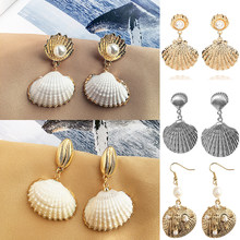 Natural Statement Dangle Sea Summer Bride Women Shell Earrings New Jewelry Drop Earrings Pendant(China)