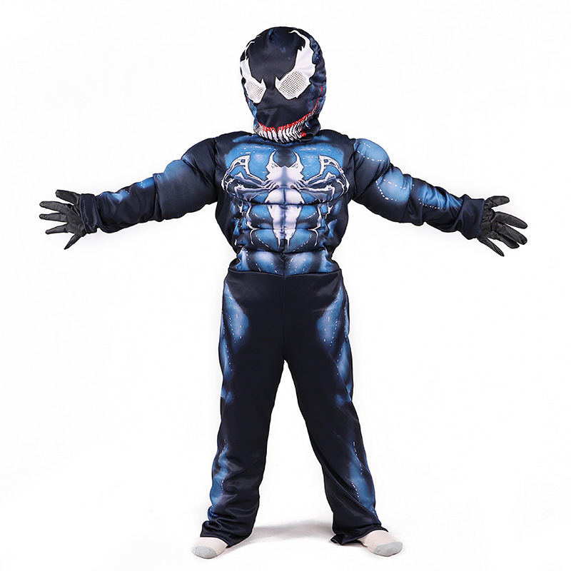 Venom Spiderman Muscle Cosplay Costume Marvel Superhero Movie Venom Costume Kids Boys Halloween Costume For Kids