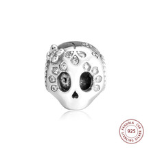 100% 925 Sterling Silver Sparkling Skull Charm Beads Fits Original Pandora Bracelet Argent Jewelry for Women