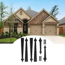 Metal Gate Door House Hinge Handle Set Decorative Garage Carriage Accents Hardware Black With 2 Handles 4 Hinges Included Screws