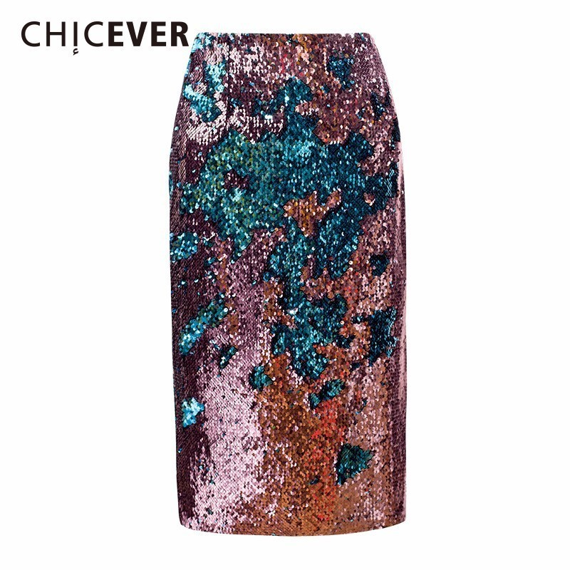 CHICEVER Women s Skirt Sequins Hit Colors Back Split Big Size Summer Slim Women Skirts 2019