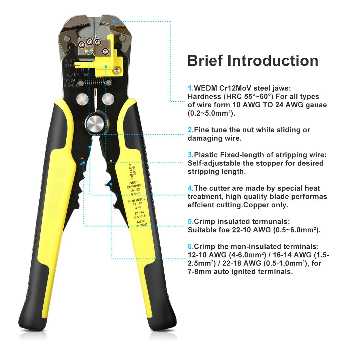 248B Insulated Plier Blade Cable Cutter Stripper Stripping Electrical Terminal