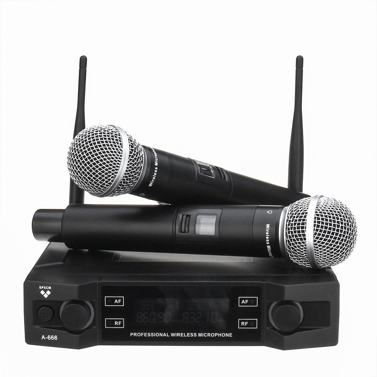 Système de Microphone sans fil UHF 2 canaux 2 micro portatif sans fil Kraoke fournitures de fête de la parole Microphone cardioïde professionnel - 2