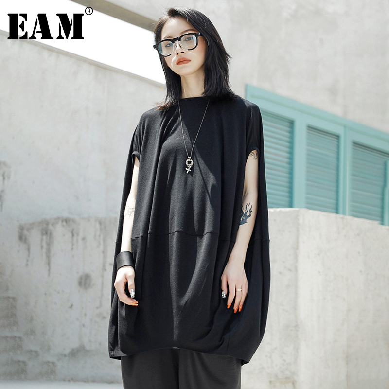 [EAM] 2020 New Spring Summer Round Neck Short Sleeve Black Loose Big Size Oversize Cloak T-shirt Women Fashion Tide JT528