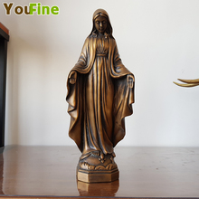 YOUFINE Hot Bronze Small Piece Madonna Sculpture Copper Christian Character Indoor and Outdoor Decoration