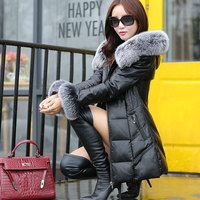 Russian Winter Natural Fox Fur Women Down Jacket White Duck Down Female Outwear Coat Snow Wear Genuine Leather Women Parkas G153