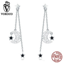 VOROCO Fashion Pure 925 Sterling Silver Long Line Drop Earrings Moon Star Earrings For Women Silver S925 Fine Jewelry BKE528 v ya 925 sterling silver moon shape drop earrings elegant green opal stone earrings vintage women earrings female fine jewelry