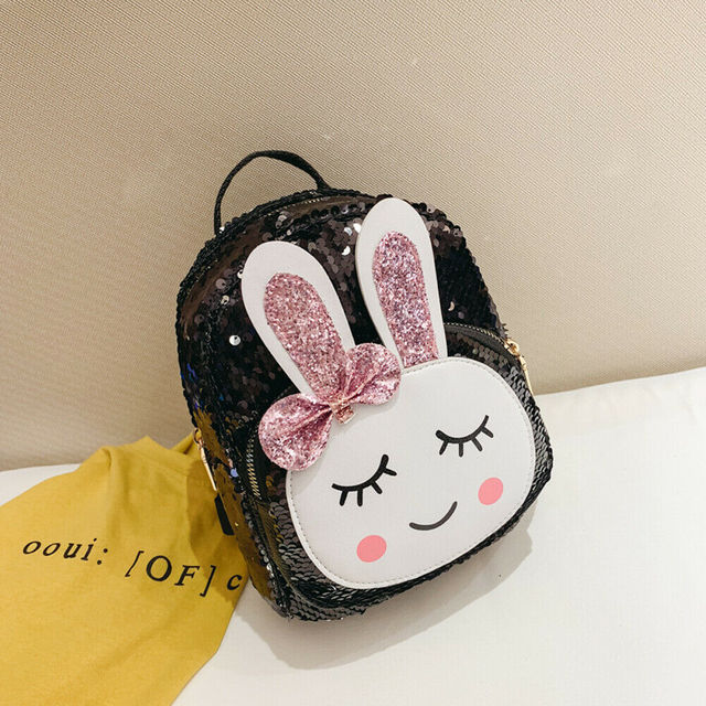 2019 Fashion Children Super Cute Faux Leather Sequins School Bag Girl New Style Design Chic Zipper Bag