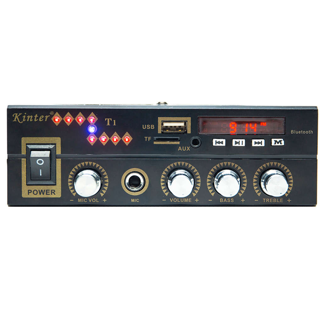 AAAE Top For Bluetooth T1 2 0CH Power Amplifier Audio With Microphone USB TF FM AUX Play Stereo Sound Control Bass Treble in Operational Amplifier Chips from Consumer Electronics