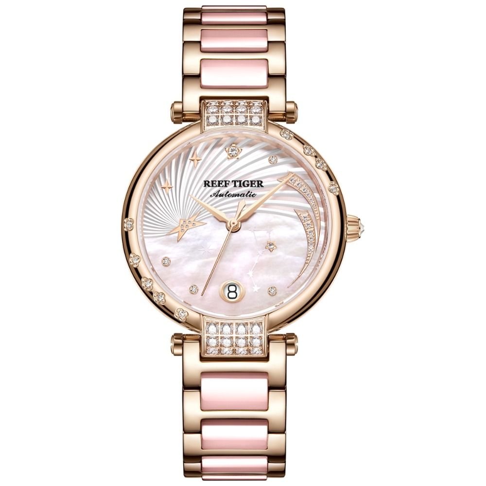 Reef Tiger New Designer Diamond Watches for Women Mother Of Pearl Dial Automatic Watches Sapphire Ceramic Watches Band RGA1592