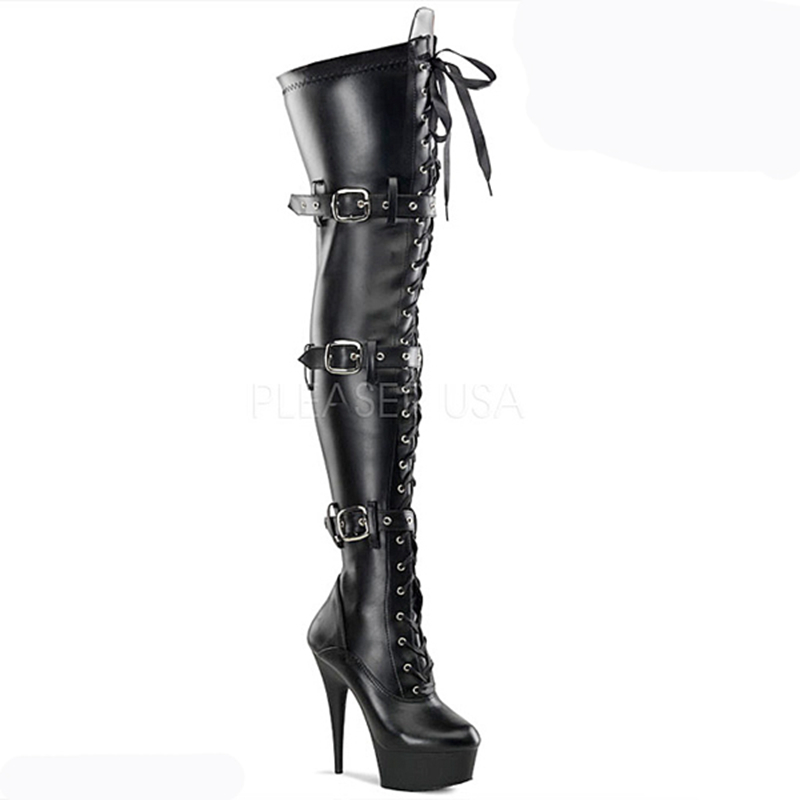 Sorbern Black Fetish High Heels Boots Shoes Women Sexy Platform Pointed Toe Thigh High Boots Ladies Shoes 2018 Plus Size Shoes