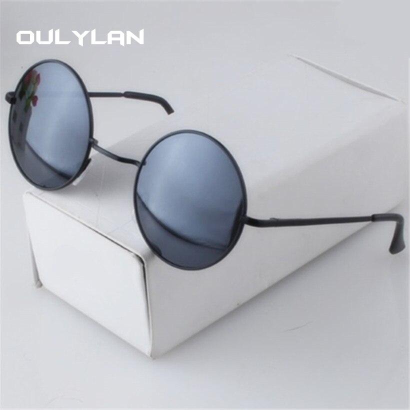 Oulylan Vintage Round Sunglasses Women Men Metal Mirror Sun