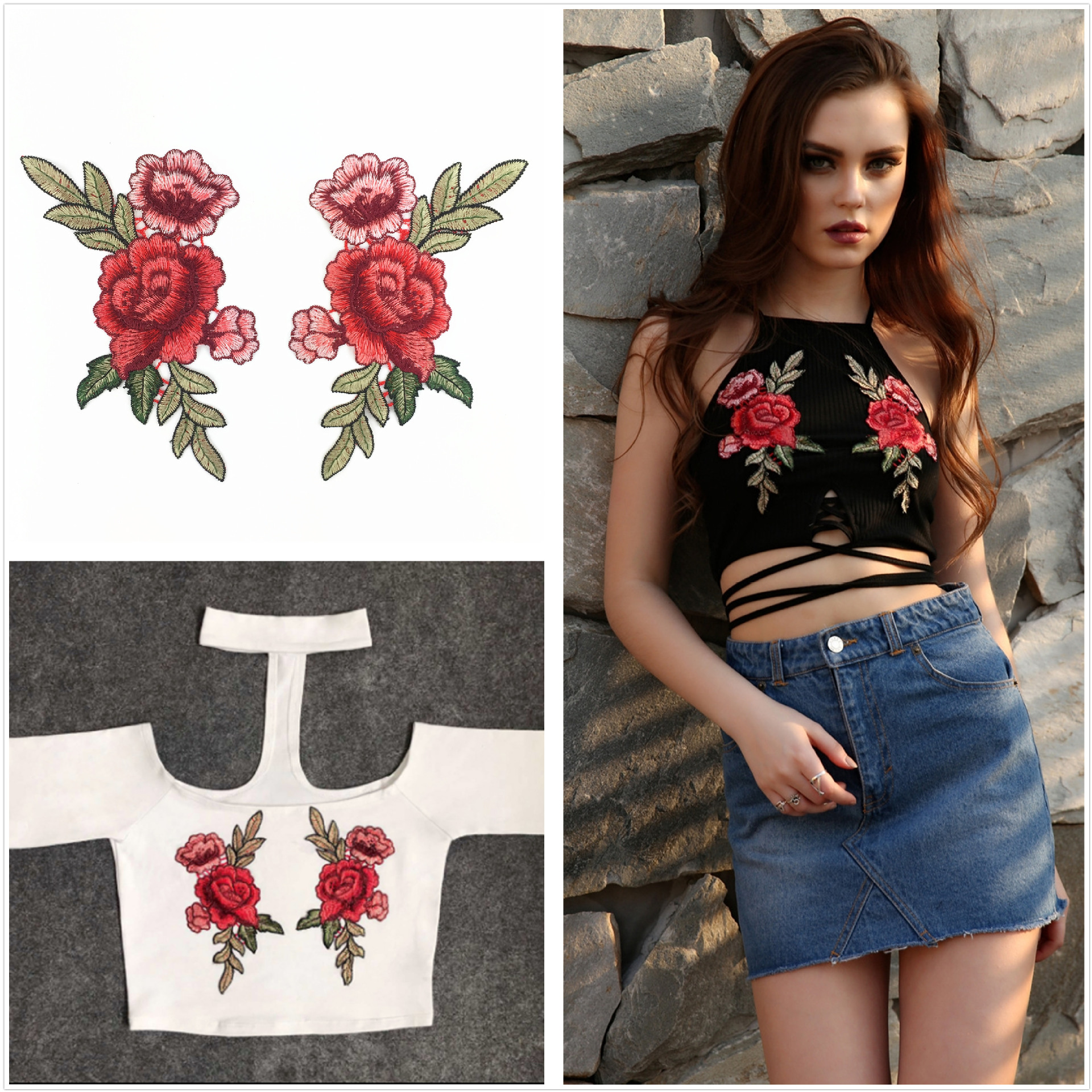 Garment Accessories Ethnic Wind Color Rose Embroidered Water-Soluble Collar Sewing Underwear Cloth