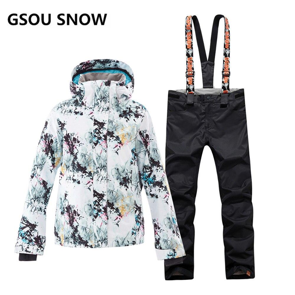 GSOU combinaison de Ski de neige femmes veste de Ski de montagne imperméable + pantalon de Snowboard fille coupe-vent Super chaud hiver neige ensemble femme