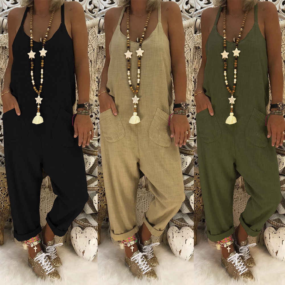 Stylish Women Strap Sleeveless Straight Pocket Jumpsuit Ladies Cotton Linen Overall Streetwear Long Trouser Plus Size S-2XL