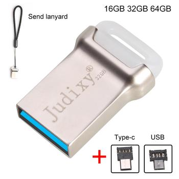 Judixy Silver Color U Disk 16GB 32GB 64GB  USB 3.0 Flash Zinc Alloy Pen Drive High-speed Car Usb Hard Drive Type-C OTG Connector