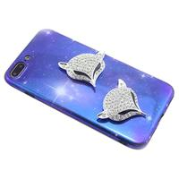 ALLOYSEED Rhinestone Fox Head Sticker Phone Case Craft DIY Decals Jewelry Components Mobile Phone Decorations Jewelry Component