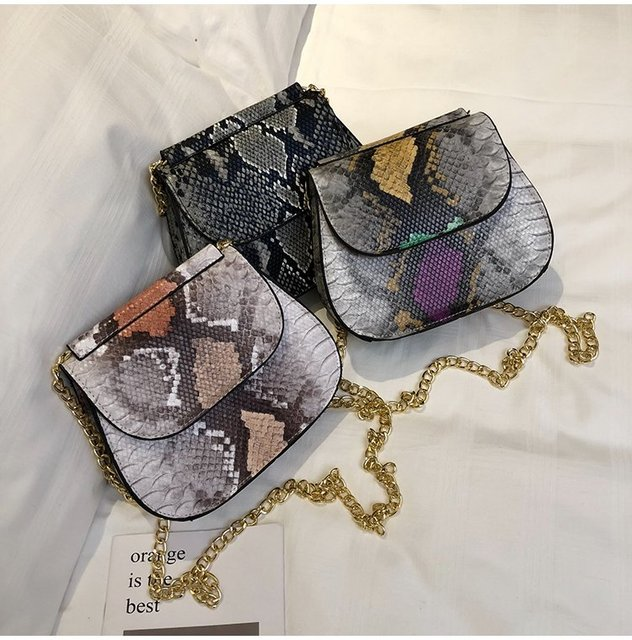 Crossbody Bag For Women Fashion Snake Skin PU Leather Shoulder Bags Female Chain Messenger Bag Women Handbag Party Day Clutches