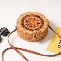 Women Handmade Rattan Round Vintage Woven Storage Bag