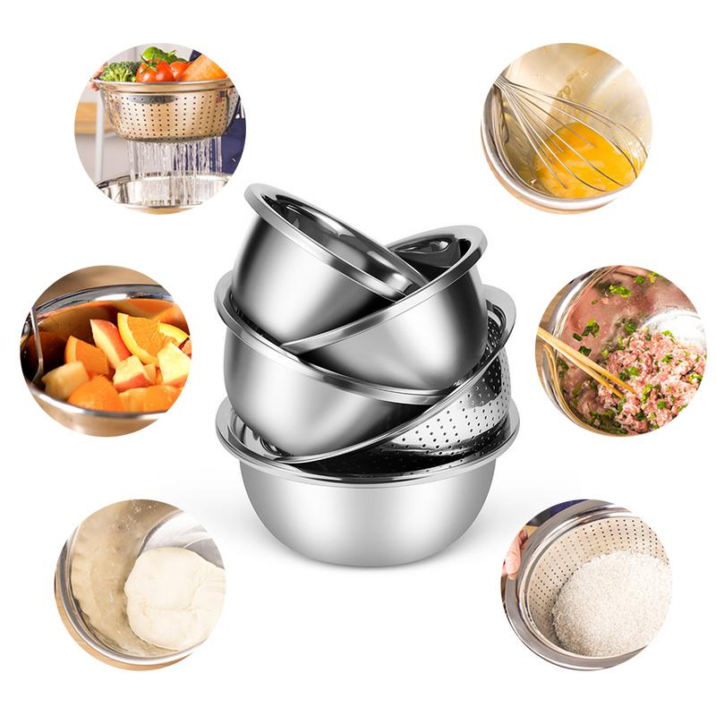 5PCS/Set Stainless Steel Basin Sieve Washing Vegetable Pots Fruit Bowls for Beating Eggs Noodles Seasoning ramen vajilla