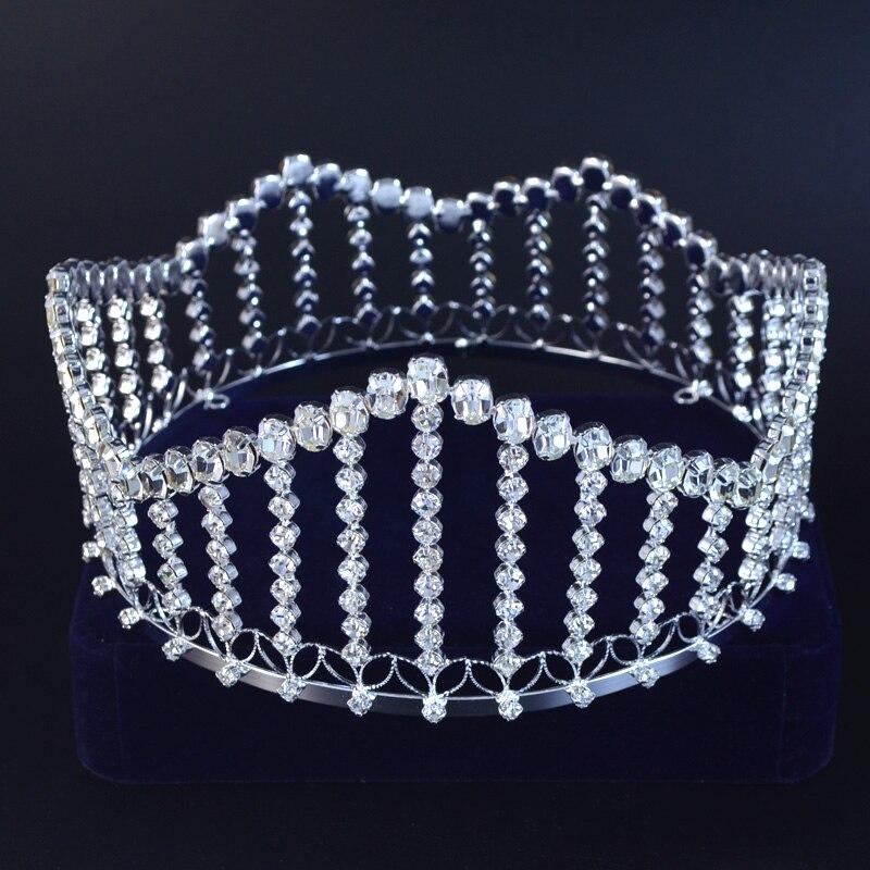 Full Round Pageant Crown Tiara Fashion Rhinestone Crystal Colour Accessories Headwear Ornament Princess Queen Wedding M0192