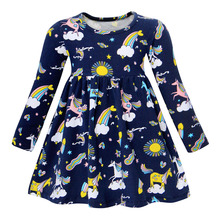 Long Sleeve Unicorn Dress Baby Girls Cartoon Animal Costume for Kids Cotton toddler Girl Clothes 3-6 years girl