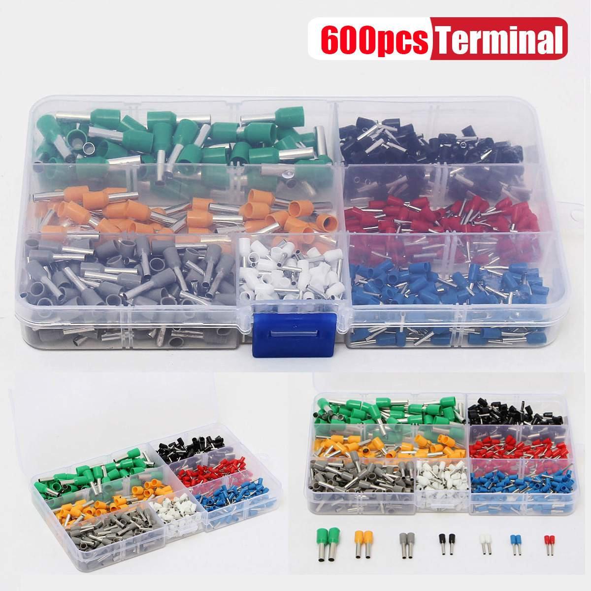 600Pcs Spade Insulated Cord Pin End Cable Wire Terminal Electrical Mixed Copper Wire Crimp Tube Connector 22-10AWG600Pcs Spade Insulated Cord Pin End Cable Wire Terminal Electrical Mixed Copper Wire Crimp Tube Connector 22-10AWG
