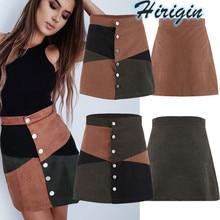 цена Summer Skirts Women Summer Casual High Waist Suede Button Short Mini Skirts Patchwork A-Line Mini Skirt