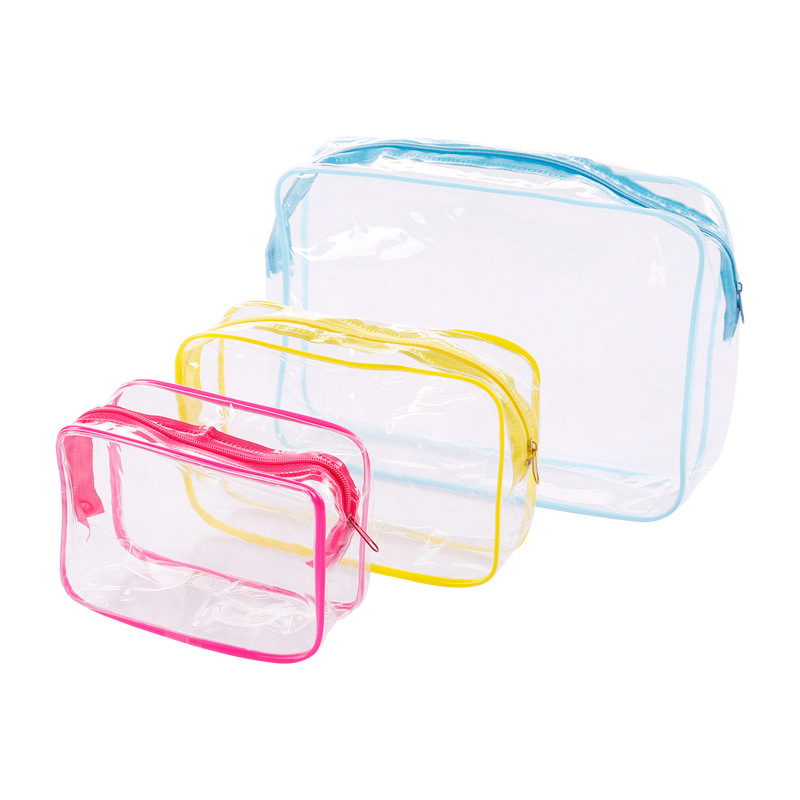 ETya 3PCS/Lot S M L Travel PVC Cosmetic Bags Women Transparent Clear Zipper Makeup Bags Organizer Bath Wash Tote Handbag Case