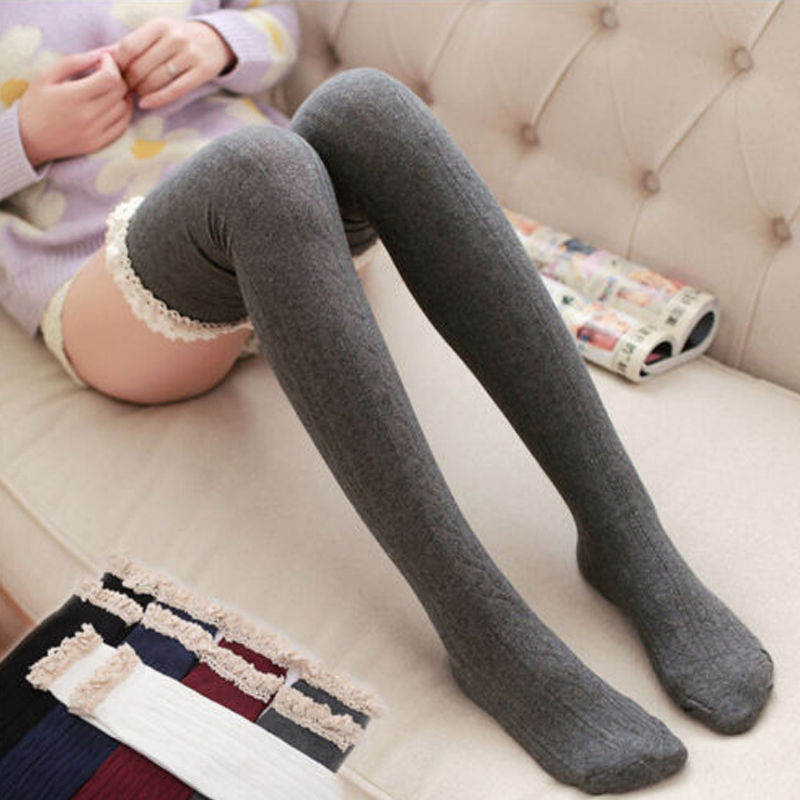 Women Lace Stockings Over The Knee High Soft Solid Knitted Lady Winter Warm Cute Casual Long Stocking Sweet Girls New Hot 2019