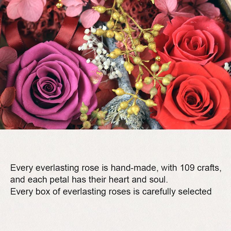 Flor eterna led beleza rosa e besta alimentado por bateria flor vermelha luz da corda lâmpada de mesa romântico dia dos namorados aniversário - 5