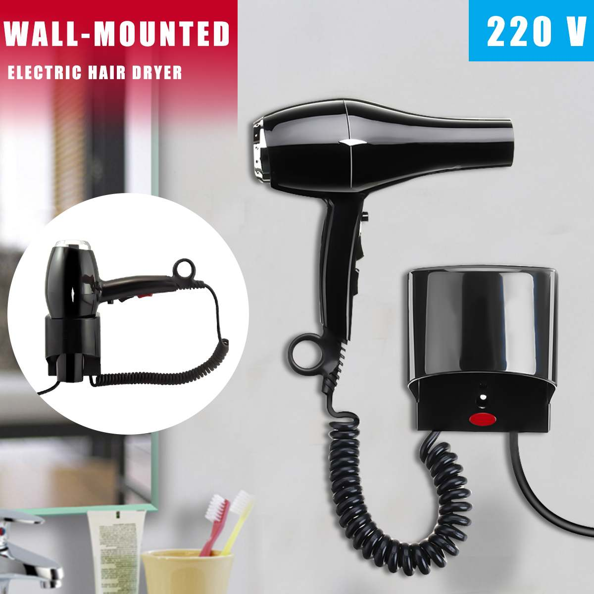 1600W 220V Wall Mount Hanging Type Electric Hair Dryer Hot Cold Wind Adjustable Hairdryer Household Home Hotel Bathroom dmwd hot wind blow hair dryer electric wall mount hairdryers hotel bathroom household dry skin hanging wall blowers with stocket