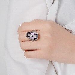 925 Silver Color Rectangle 1.1ct Purple Sapphire Solitaire Obsidian Ring Jade Bizuteria Fine Gemstone diamond Jewelry Women