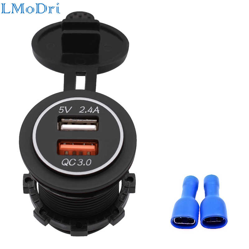 LMoDri New Motorcycle RV Super Fast Charge QC 3.0 Dual USB Auto ATV Phone Charger Waterproof Boat Yacht Tablet GPS Quick Charg