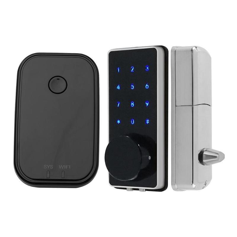 Téléphone portable APP Bluetooth serrure WiFi sans fil intelligent électronique serrure de porte écran tactile mot de passe serrure avec 2 clés