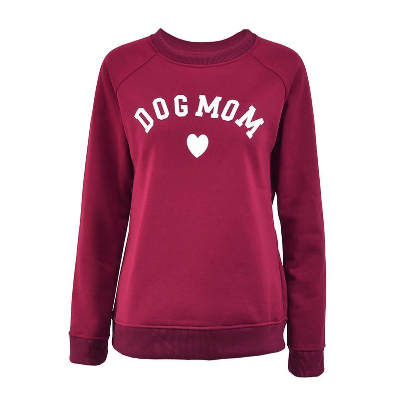 Hund Mom frauen Plus Samt Modische Langarm Casual Sweatshirt Druck Herz-förmigen Druck Kawaii Sweatshirt Kleidung