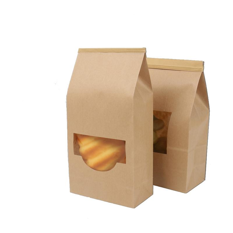 582b35ee1b 50pcs/set Bakery Bag with Window Resealable Paper Treat Bags Kraft Bag for  Bread Biscuits Popcorn