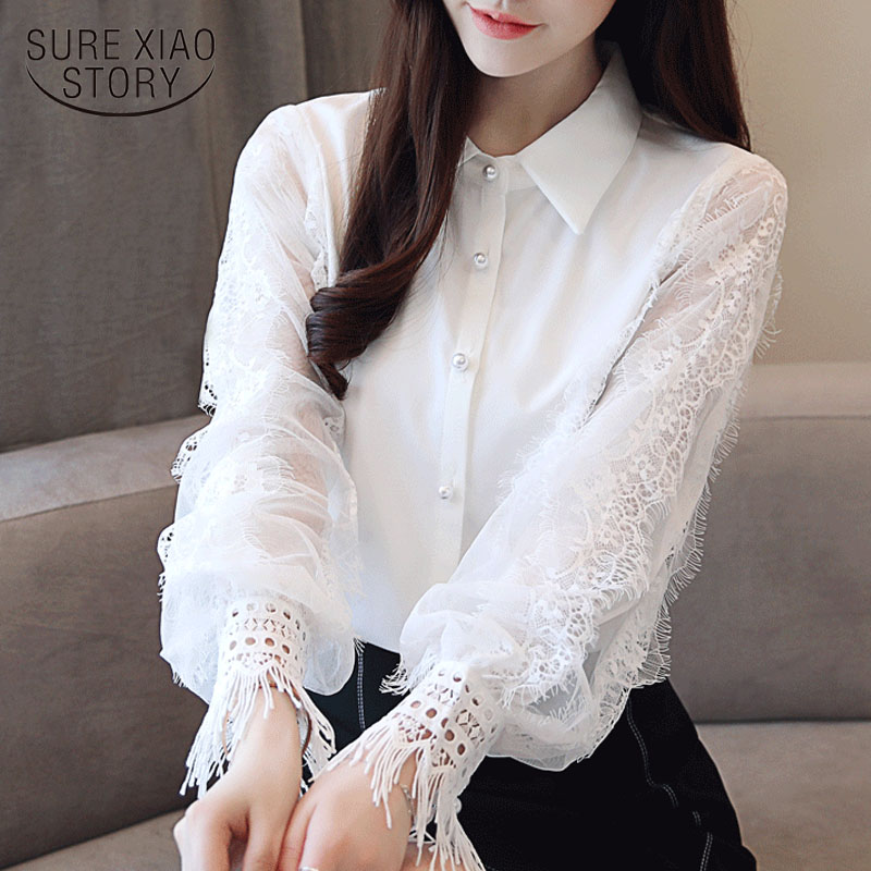 Moda Mulheres tops e Blusas 2019 Camisa de Manga Longa Mulheres Blusa Chiffon Sólida Camisa Branca OL Blusa top Blusas femininas 1145 40