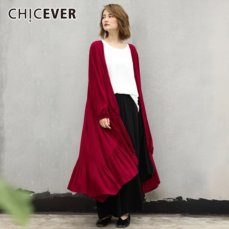 CHICEVER Women's Windbreaker Cardigan For Large Size Long Sleeve Mermaid Hem Long   Trench   Coat Female Autumn Casual Clothes 2018