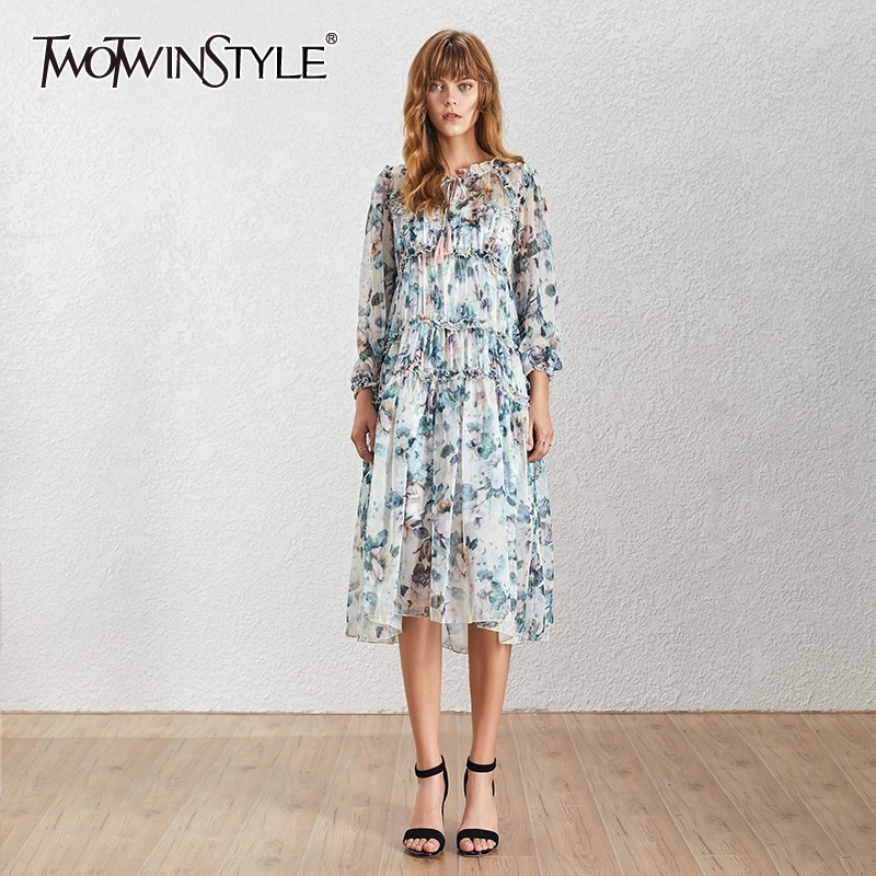 TWOTWINSTYLE Vintage Print Long Dress High Waist V Neck Long Sleeve Ruffle Asymmetrical Women s Dresses